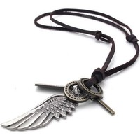 KONOV Mens Vintage Angel Wing Cross Pendant Brown Leather Cord Necklace Chain, Silver