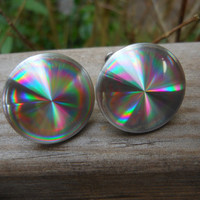 Hologram Earrings Sterling Screw Backs 1960s  Holographic Jewelry Disco Rainbow Silver Discs Flying Saucer Outer Space Age Cosplay Pin Up