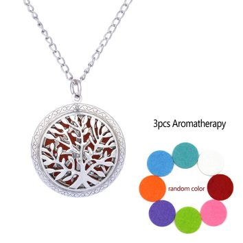 Aromatherapy Diffuser Hollow Locket Necklace With Oil Pads