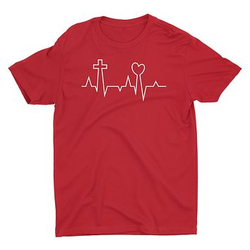 EKG Life Line Pulse Love Heart Cross Jesus Easter Valentine's Day Christian Tshirt for Men