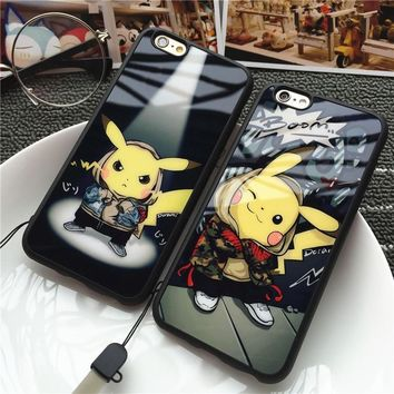 Lovely Pikachu Soft Silicone Phone Case for IPhone 5 5s 6 6s 6Plus 7 7 Plus Light Back Cover