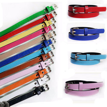 2017 New Fashion Female Ladies Waist Belt 8 Colors Women Faux Leather Slim Thin Skinny Girl's Waist Belt Metal Buckle Casual