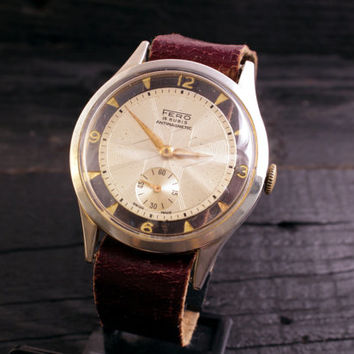 Vintage Fero watch see through case mens watch