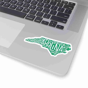 North Carolina State Shape Sticker Decal - Green