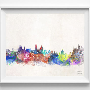 London Skyline, British Watercolor, Poster, UK, Print, United Kingdom, Cityscape, City Painting, Illustration Art, Europe, Giclee [NO 420]