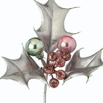 "Silver Glittered Fake Holly Berry & Bulb Ornament Pick - 6"" Tall"