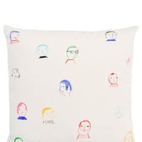 Folks Embroidered Pillow