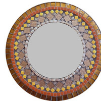 Round Wall Mirror in Browns and Copper, Mixed Media Mosaic Mirror