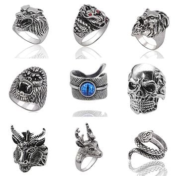 Gothic Punk Men Stainless Steel Ring