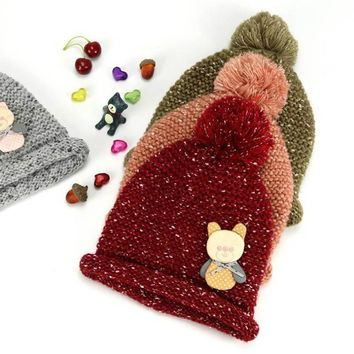 2017 Solid Beanies colored balls Bear velvet wool Winter Baby Child knitted fur hat kids girls Earflap Caps Age for 1-4 years