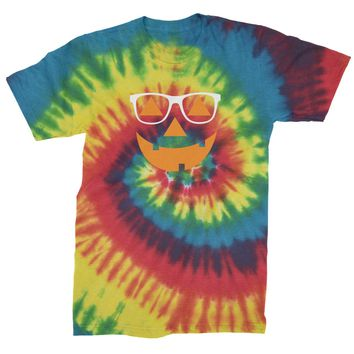 Hipster Jack O Lantern With Glasses Mens Tie-Dye T-shirt