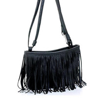 Black Shoulder Bag With Tassel
