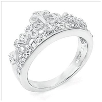 Sterling Silver Round Cut CZ Crown Tiara Engagement Ring size 5-9