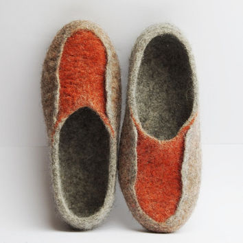 Felted slippers-mules-clogs- organic foot wear- eco friendly slippers