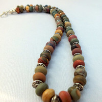 Picasso Jasper Necklace. Jasper Gemstone Necklace. Autumn Fall Necklace. Beaded Necklace
