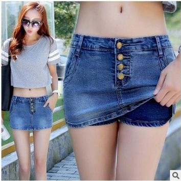 VONG2W 2017 Newest Womens Summer Denim Skirt Shorts Casuall Slim Middle-Waist Single Breasted Denim Short Short Femme Shorts Jeans K81
