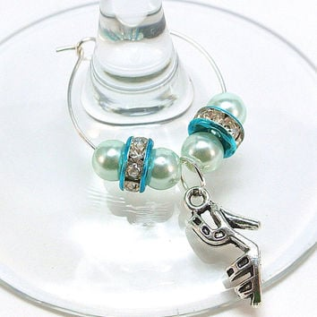 Shoe Wine Charms- 10 High Heeled Shoe Wine Glass Tags with Colored Pearls, Crystal Beads, Wine Glass Tags, Wedding Shower, Favors