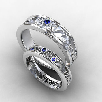 Wedding band set, white gold, sapphire wedding band, mens sapphire ring, filigree, blue sapphire wedding, lace ring, ring set