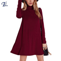 Fashionable Clothing Women Korean Style Dresses Pullover Long Sleeve High Neck Casual Shift Basic Dress