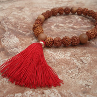 Mala Bracelet, Sandalwood and Rudraksha Beads, Prayer Beads, 27 Beads, Quarter Mala, Yoga Bracelet, Red Tassel