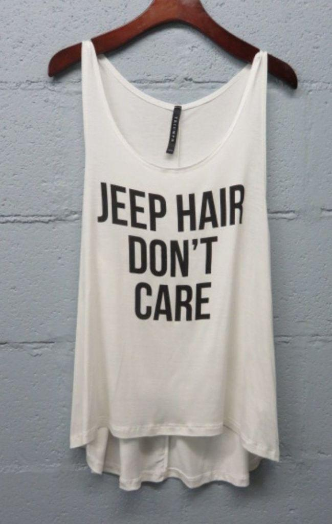 5ecb6989 Jeep Hair Don't Care Tank Top (Gray or from Lucky Duck