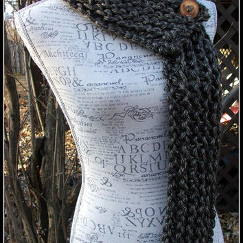 Knit Infinity Scarf. Brown. Hints of Tan. Long. Chunky. Cowl. Made by Bead Gs on ETSY. Wood button scarf. Warm. Neutral. Knit cowl.