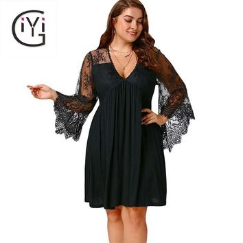 GIYI Plus Size 5XL Sexy Lace Crochet Sheer Mesh Dress Women Tunic Deep V Neck Flare Sleeve Tulle Elegant Party Dresses Big Size