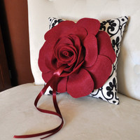 Ring Pillow Ruby Red Rose on Designer Ring Bearer by bedbuggs
