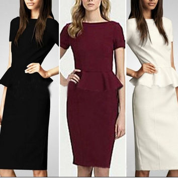 Dropshipping 2014 New Fall Winter Women Elegant OL Career Wear to Work Stretchy Knee-Length Pencil Dresses Plus Size S-XXL = 1958126212