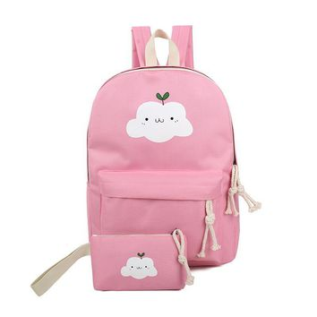 Cute cartoon school bag for teenage girls Fashion fresh canvas backpack with small bag Contracted joker leisure and travel bag
