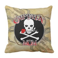Captain Mom - Embraced by the Deep Throw Pillow