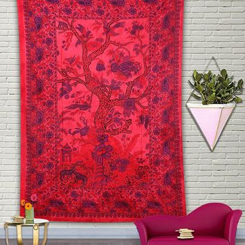 Red Floral Forest Bohemian Fabric Tapestry