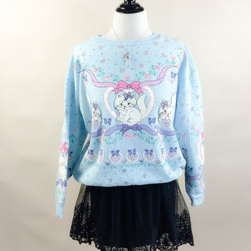 Marie sweatshirt // 80s baby blue white puffy painted kitty cat kitten pullover // slouchy fit floral ribbons // size OSFM