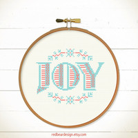 Modern Christmas cross stitch pattern - Simple Joy - Xstitch Instant download - Modern Xmas floral christmas joy Love Heart Sweet Home