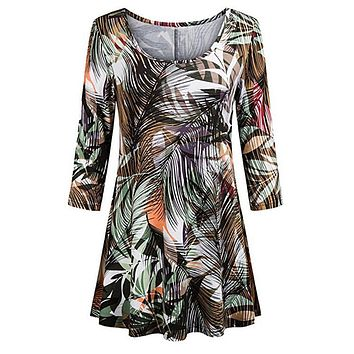 Summer Tops For Womens Tops and Blouses 2018 Streetwear Print Three Quarter Sleeve Long Tee Shirts Tunic Ladies Top Clothes