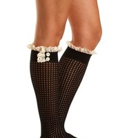 Crochet & Button-Trimmed Knee-High Socks