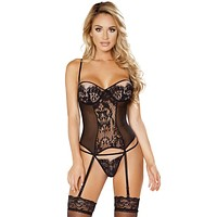 Sexy Uptown Girl Lace Gartered Bustier with G-Sting
