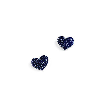 Navy Heart Earrings - Polkadot Earrings, Stud Earrings, Heart Studs, Heart Jewelry, Spotty Earrings, Blue Earrings, Blue Jewelry