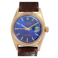 Rolex Yellow Gold Datejust Wristwatch with custom colored Blue Dial, circa 1964