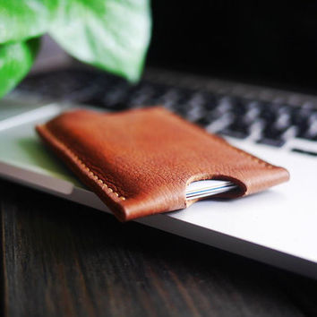 Simple Leather Card Holder / Handcraft Wallet / Minimalist Wallet /Ultra Slim Card Holder / Perfect As A Gift