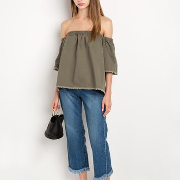 Joa olive off the shoulder top