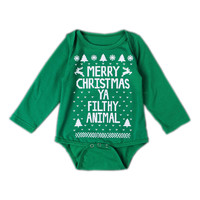 Merry Christmas Ya Filthy Animal Baby Long-sleeve Bodysuit Unique Infant Boy Little Girl Festival Clothes Gift YM72PF
