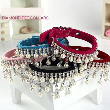 Jewelry pear  Dog Collar Soft Velvet Material Adjustable necklace Pet Dog Cat Collars with 5colors