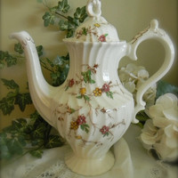 Vintage Brown Transferware Coffee Pot Tea Pot Shabby Chic Cottage Style Hand Painted Pink  and Yellow Flowers