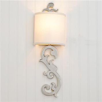 Chic Nickel Scroll Sconce - Shades of Light