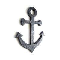 Anchor Wall Decor in faux rusty steel finish, faux metal, industrial anchor, nautical decor, beach house decor, steel gray, rustic anchor