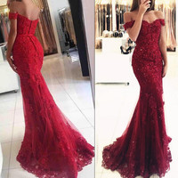 Red Mermaid Off Shoulder Lace Beaded Prom Evening Dresses, 2017 Party Prom Dresses, Custom Long Prom Dresses, Red Evening Dresses