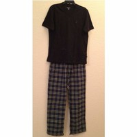 Nautica Seaborne Short Sleeve Tee + Flannel Pants Pajama Set PJ3492 Small