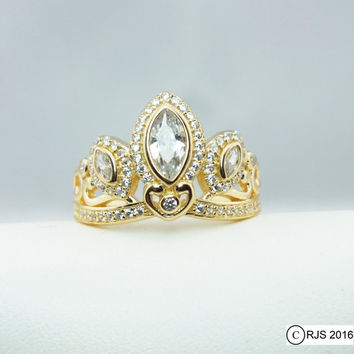 18k Gold Plated 925 Silver Tiara Princess Ring Rapunzel Tangled Crown Crystals