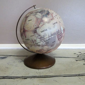 1970s Mars by Replogle Meredith Corp Globe Vintage Globe Vintage Mars Globe Celestial Globe Small Globe Collectible Globe